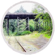 Trains Over And Under Round Beach Towel