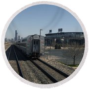 Trains Passing The Home Of The Chicago White Sox Round Beach Towel