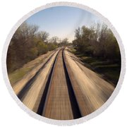 Trains Power Approaching The Crossing Round Beach Towel