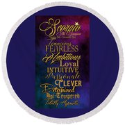 Traits Of A Scorpio Round Beach Towel by Mamie Thornbrue