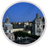 Trajan's Column Church Of Santa Maria Di Loreto Church Of Our Lady Giclee Rome Italy Round Beach Towel