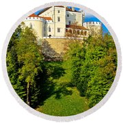 Trakoscan Castle And Green Lake  Round Beach Towel