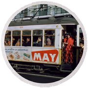 Tram 223, Graca, Lisbon, 1972 Round Beach Towel