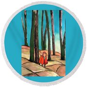 Trampling Through The Woods Round Beach Towel