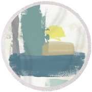 Tranquil Abstract 3- Art By Linda Woods Round Beach Towel