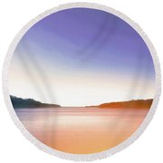 Tranquil Afternoon At The Lake Round Beach Towel