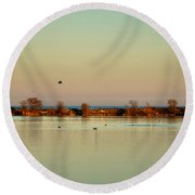 Tranquil Autumn Evening Round Beach Towel