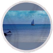 Tranquil Blue Round Beach Towel