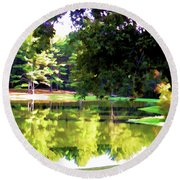 Tranquil Landscape At A Lake 1 Round Beach Towel