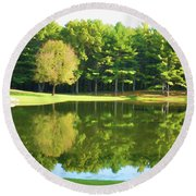 Tranquil Landscape At A Lake 2 Round Beach Towel