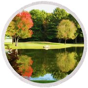Tranquil Landscape At A Lake 3 Round Beach Towel