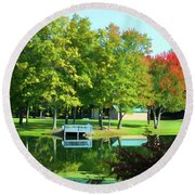 Tranquil Landscape At A Lake 4 Round Beach Towel