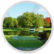 Tranquil Landscape At A Lake 5 Round Beach Towel