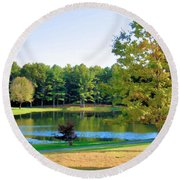 Tranquil Landscape At A Lake 6 Round Beach Towel