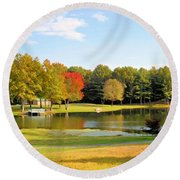 Tranquil Landscape At A Lake 7 Round Beach Towel
