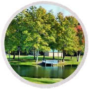 Tranquil Landscape At A Lake 8 Round Beach Towel