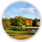 Tranquil Landscape At A Lake 9 Round Beach Towel