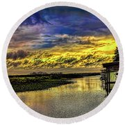 Tranquil Morning Round Beach Towel