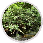 Tranquil Mountain Laurel Stream In The Great Smoky Mountains National Park Round Beach Towel