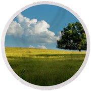 Tranquil Solitude Billowing Clouds Oak Tree Field Art Round Beach Towel