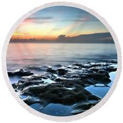 Tranquil Sunrise At Coral Cove Beach Round Beach Towel