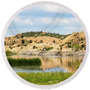 Tranquil Willow Lake Round Beach Towel