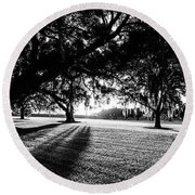 Tranquility Amongst The Oaks Round Beach Towel