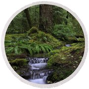 Tranquility In The Forest Round Beach Towel