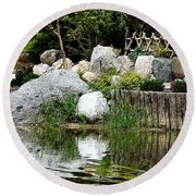 Tranquility In The Japanese Garden Round Beach Towel
