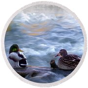 Tranquility On The River Of Life Round Beach Towel