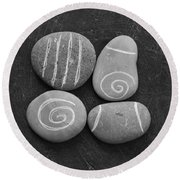 Tranquility Stones Round Beach Towel by Linda Woods