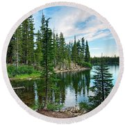 Tranquility - Twin Lakes In Mammoth Lakes California Round Beach Towel