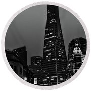 Trans American Building At Night Round Beach Towel