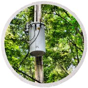 Transformer And Power Lines Round Beach Towel
