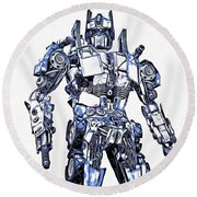 Transformers Optimus Prime Or Orion Pax Graphic  Round Beach Towel
