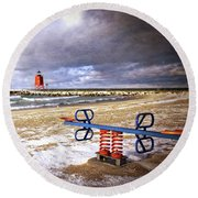 Transition Of Seasons Round Beach Towel