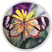 Transparent Butterfly Round Beach Towel