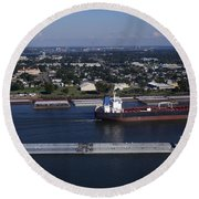 Transportation - Shipping On The Mississippi River Round Beach Towel