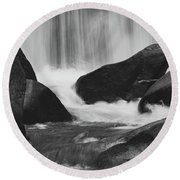 Trap Falls In Ashby Ma Black And White 6 Round Beach Towel
