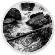 Trap Falls In Ashby Ma Black And White 9 Round Beach Towel