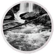 Trap Falls In Ashby Ma Black And White 1 Round Beach Towel