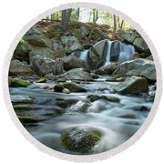Trap Falls In Spring 4 Round Beach Towel