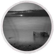 Trapped Bw Round Beach Towel