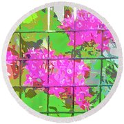 Trapped Flowers Round Beach Towel