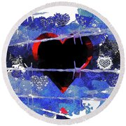Trapped Heart Round Beach Towel