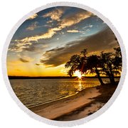 Trapped Sunset Round Beach Towel