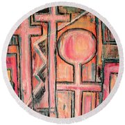 Trappings Of Love Abstract Art Painting  Round Beach Towel