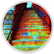 Travel-exorcist Steps Round Beach Towel