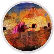 Travel Exotic Woman On Ramparts Mehrangarh Fort India Rajasthan 1h Round Beach Towel