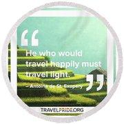 Travel Happy Round Beach Towel